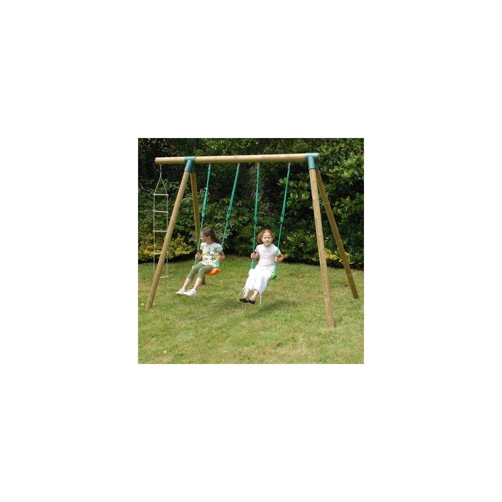 portique en bois pour enfants ta ga 2 balan oires et 1 chelle de corde soulet plantes et. Black Bedroom Furniture Sets. Home Design Ideas