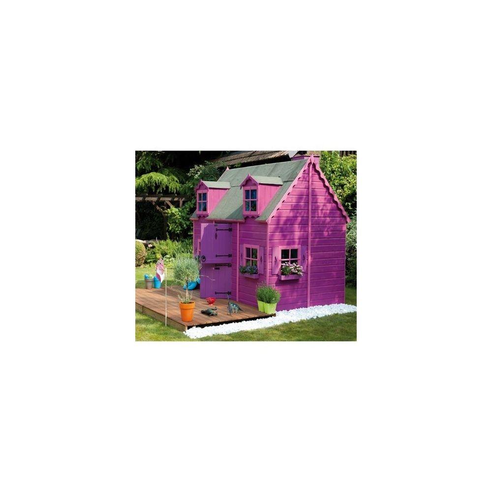 Maisonnette bois brut pour enfants louveteau avec for Peindre du bois brut