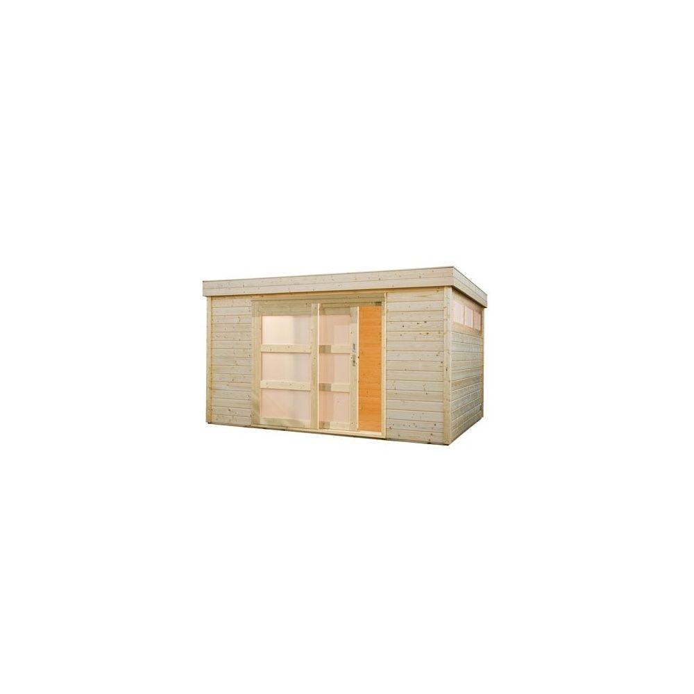 Abri de jardin toit plat m2 bois massif 28mm for Abri de jardin 12 m2