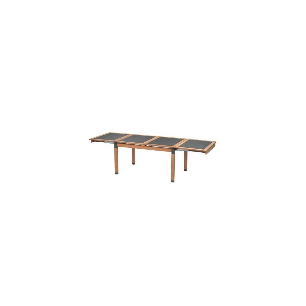 table de jardin extensible cetra 140 130 x 90 x 75 cm en teck et acier vernis emu plantes. Black Bedroom Furniture Sets. Home Design Ideas