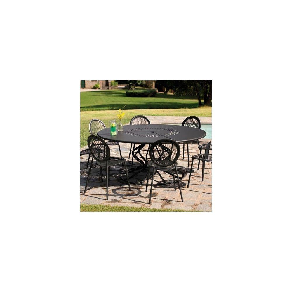 Table De Jardin Ronde Minuetto D 180 Cm En Acier Vernis