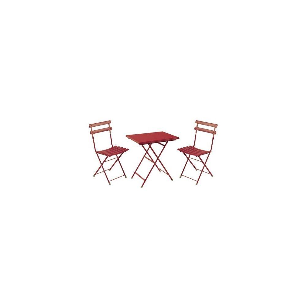salon de jardin 2 places arc en ciel en acier vernis table 70 x 50 cm 2 chaises rouge emu. Black Bedroom Furniture Sets. Home Design Ideas