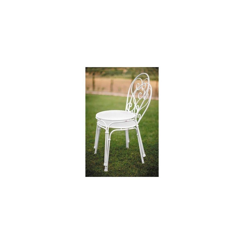 chaise de jardin pigalle en acier vernis empilable coloris blanc lot de 4 emu plantes et. Black Bedroom Furniture Sets. Home Design Ideas