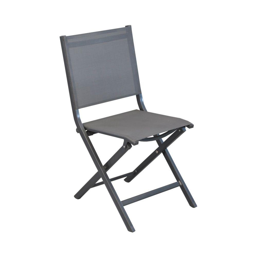Lot de 6 chaises pliantes thema aluminium textil ne gris for Lot de chaises pliantes