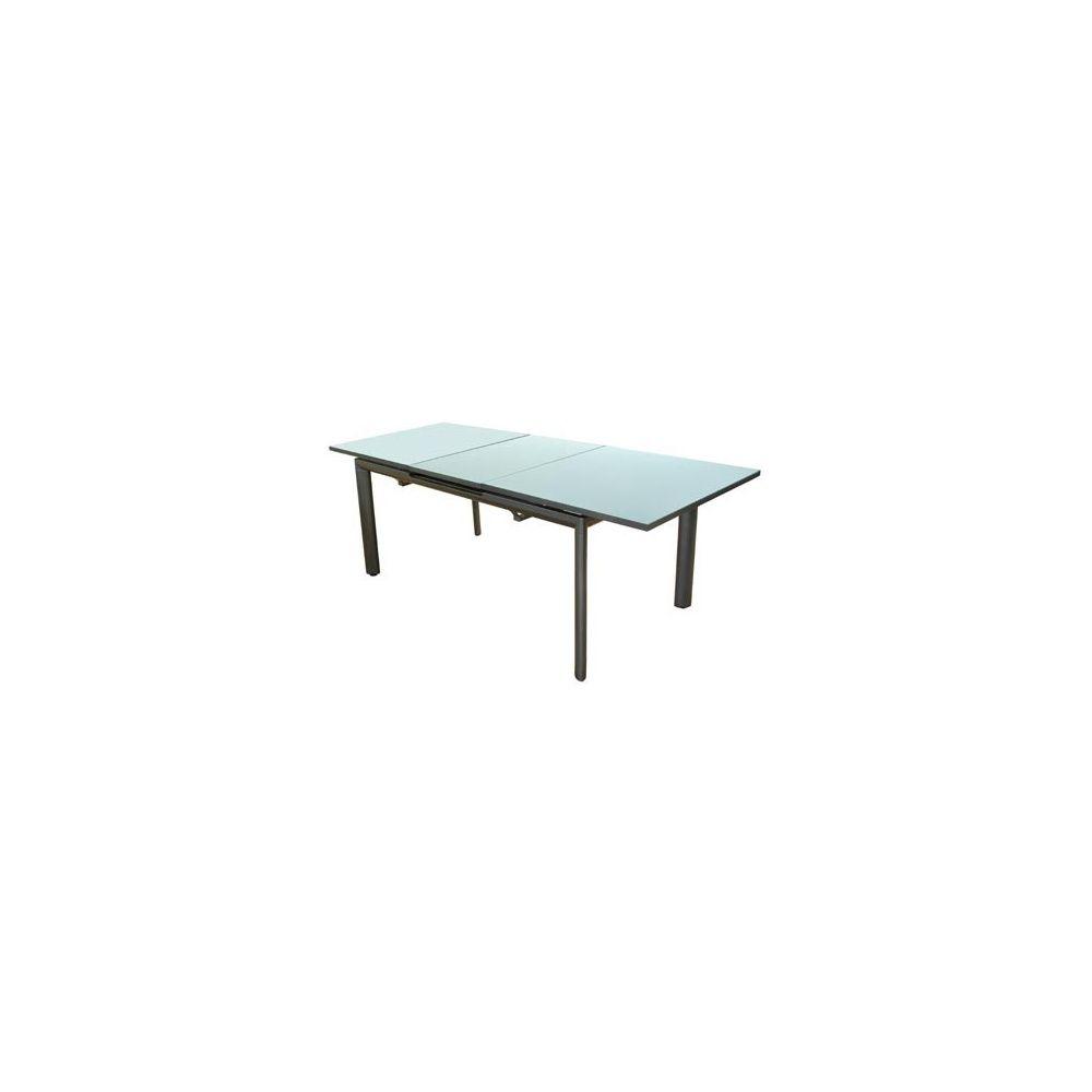 table de jardin miami en aluminium 185 240 x 100 cm allonge automatique et plateau verre. Black Bedroom Furniture Sets. Home Design Ideas