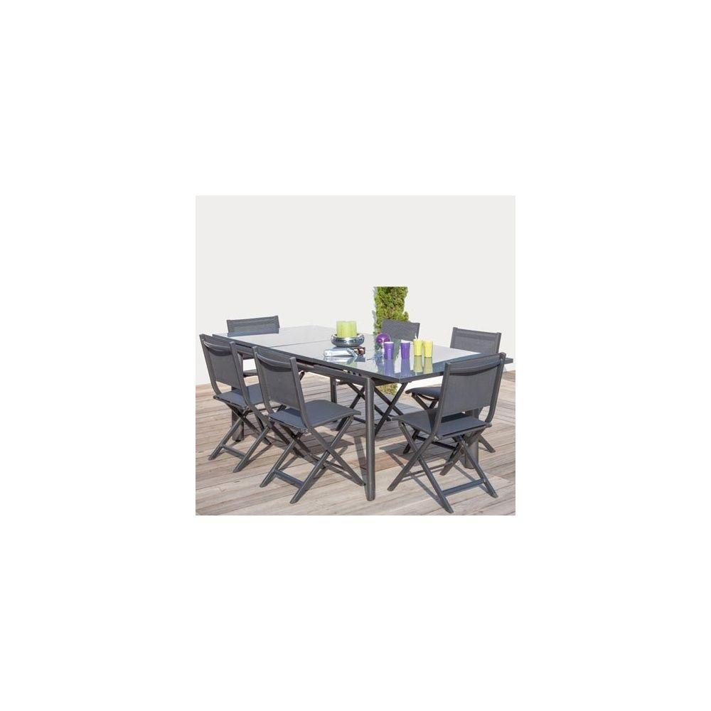Salon 6 personnes 6 chaises pliantes thema grises table avec rallonge mia - Table grise avec rallonge ...
