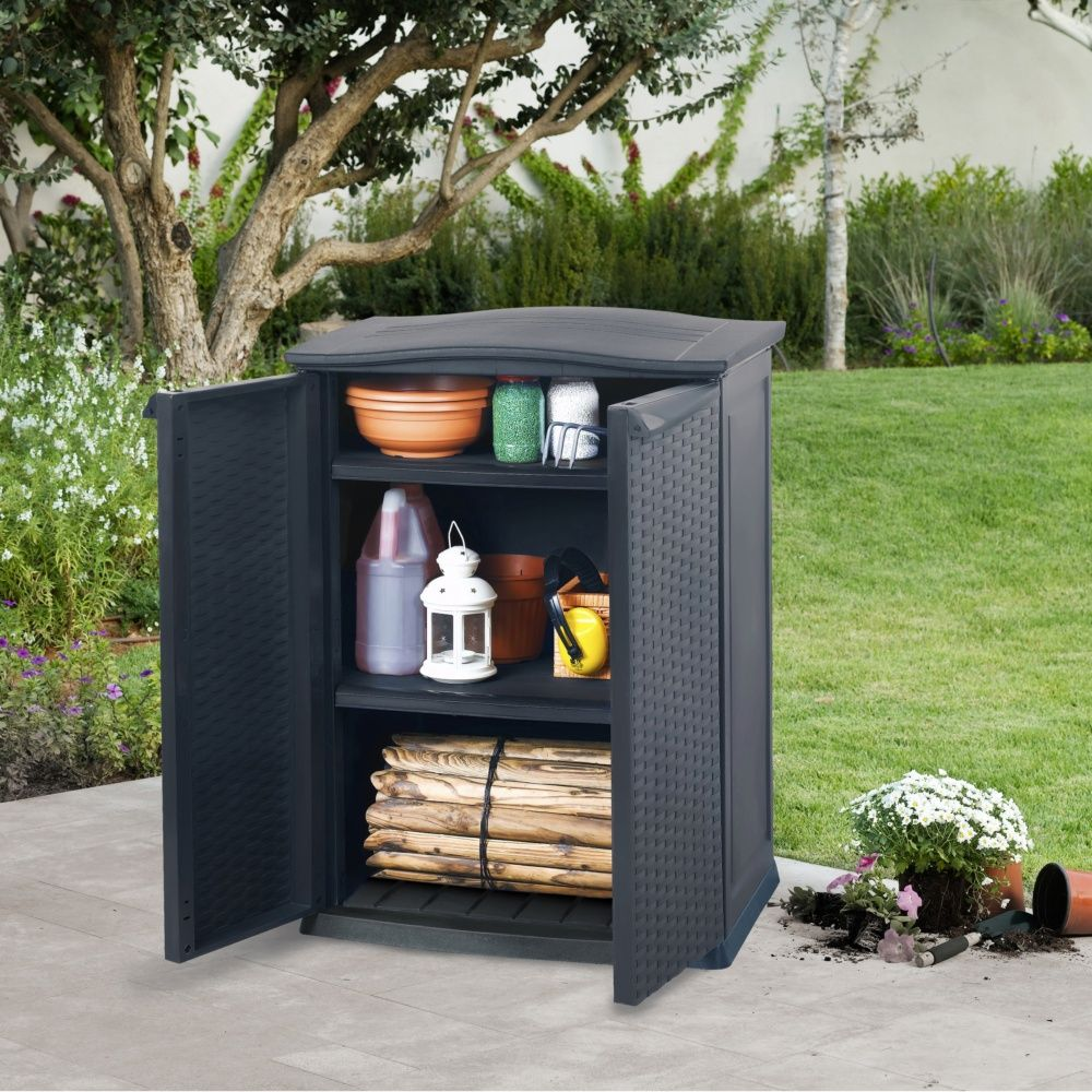 armoire de jardin r sine keter rattan l70 h92 cm anthracite plantes et jardins. Black Bedroom Furniture Sets. Home Design Ideas
