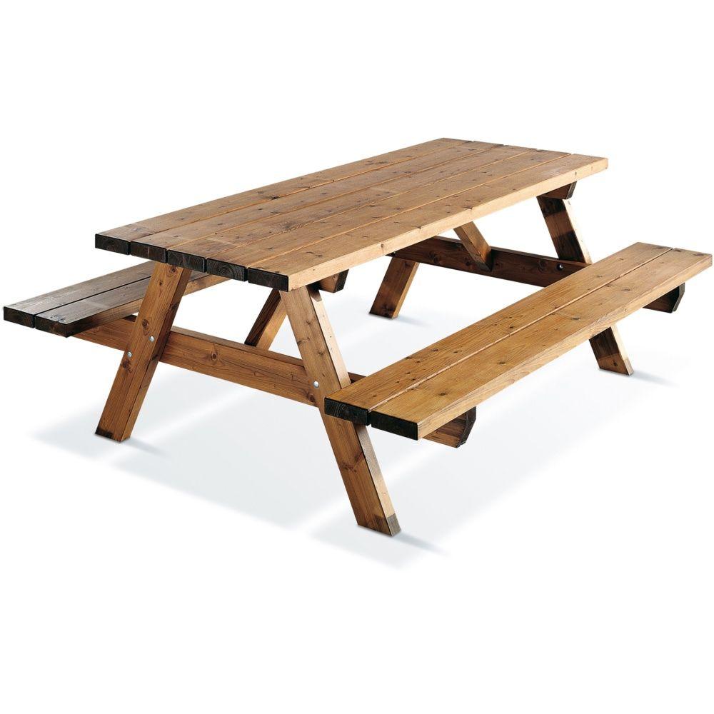 Table de pique nique garden bois trait l200 l75 7 cm - Table de jardin pique nique bois ...