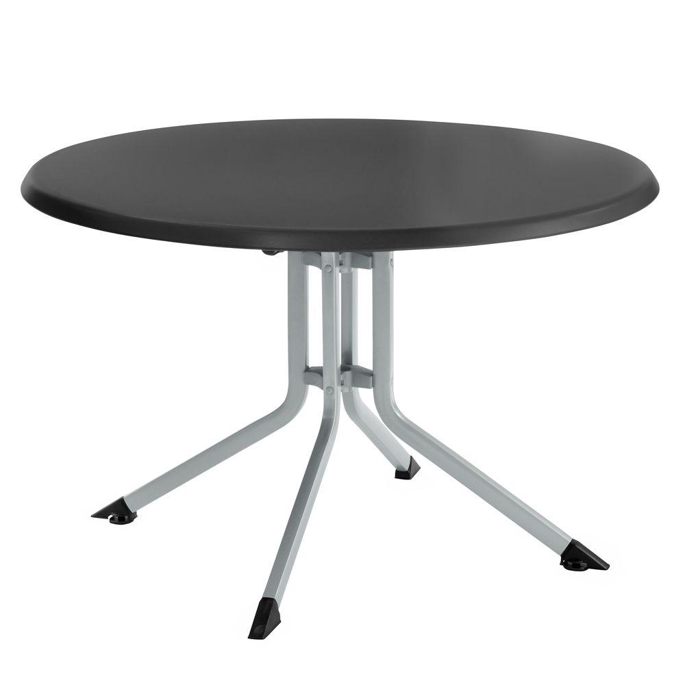 Table de jardin pliante résine Kettler Ø115 cm argent/gris ...