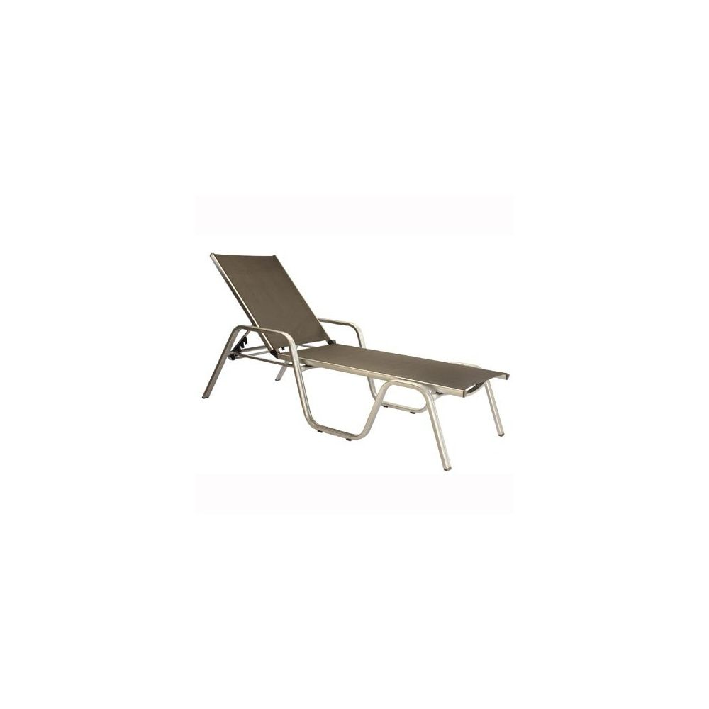 Chaise longue empilable basic plus champagne mocca for Chaise kettler