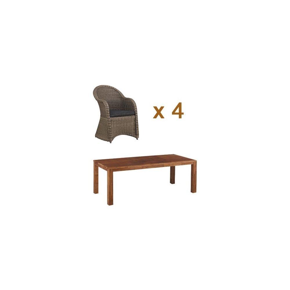 Salon de jardin table mojanda 4 fauteuils banaba for Salon 4 fauteuils