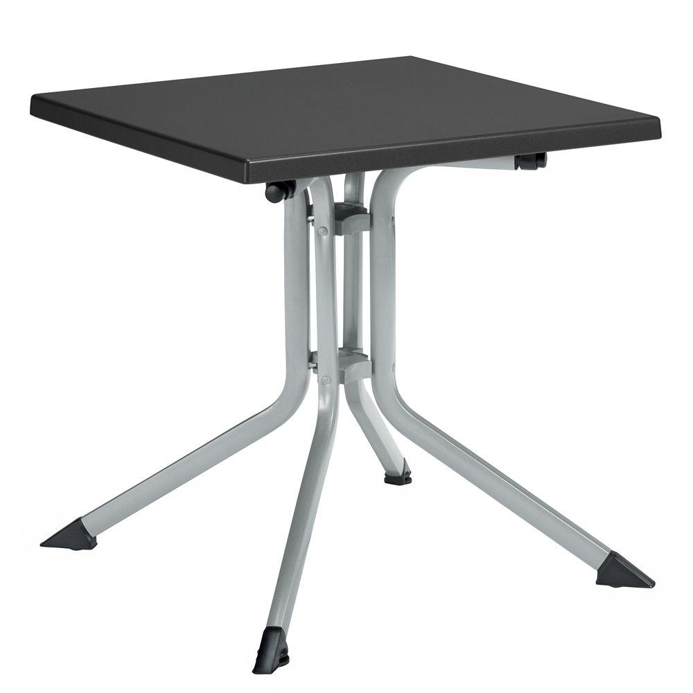 table de jardin pliante r sine kettler l80 l80 cm argent gris plantes et jardins. Black Bedroom Furniture Sets. Home Design Ideas