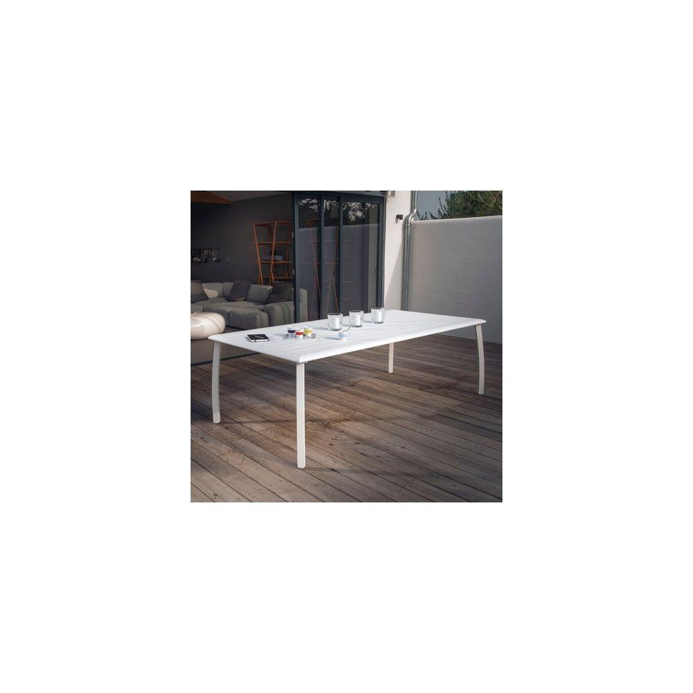 Table De Jardin Azuro Aluminium L225 L100 Cm Blanc