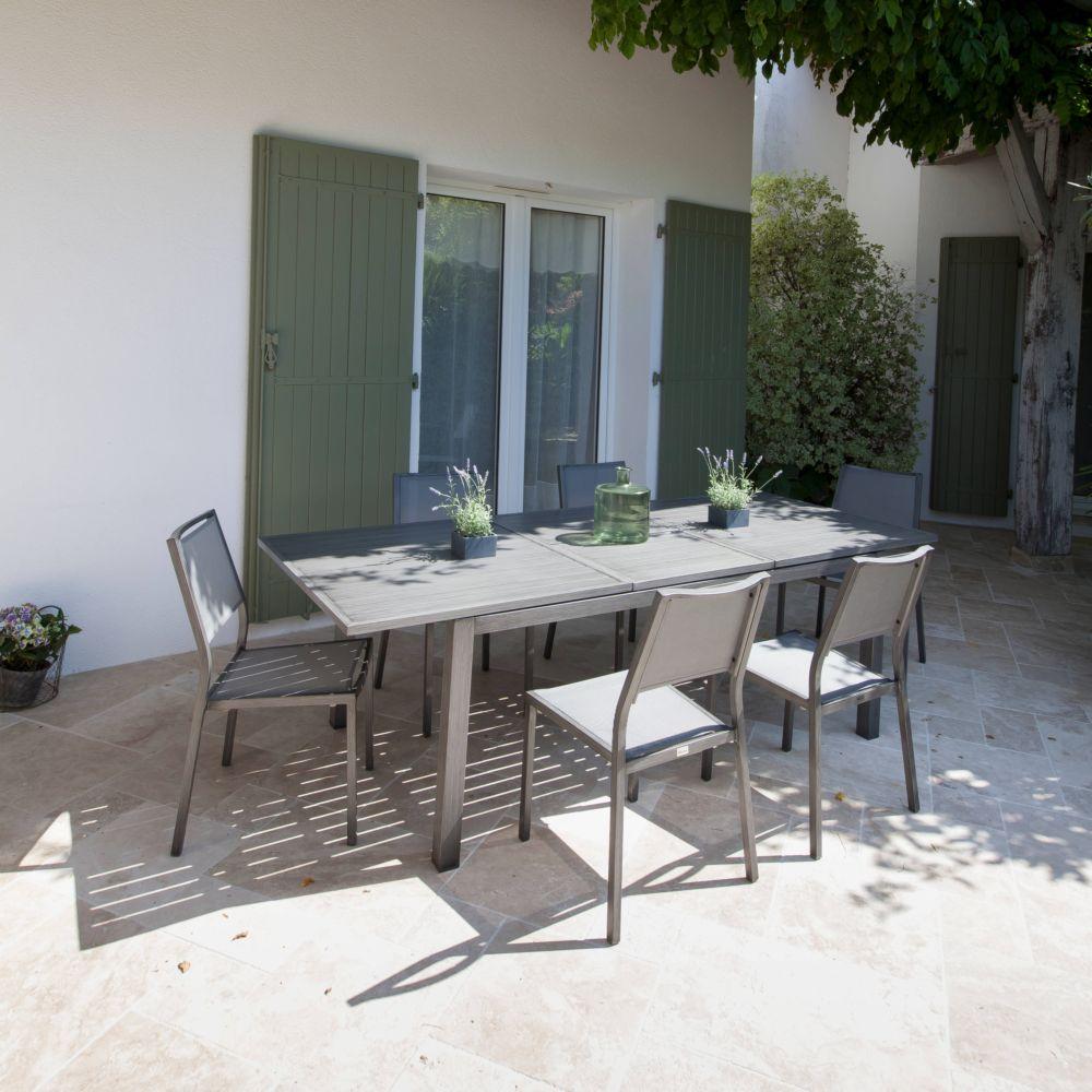 Chaise florence aluminium textil ne argent plantes et for Chaise aluminium textilene