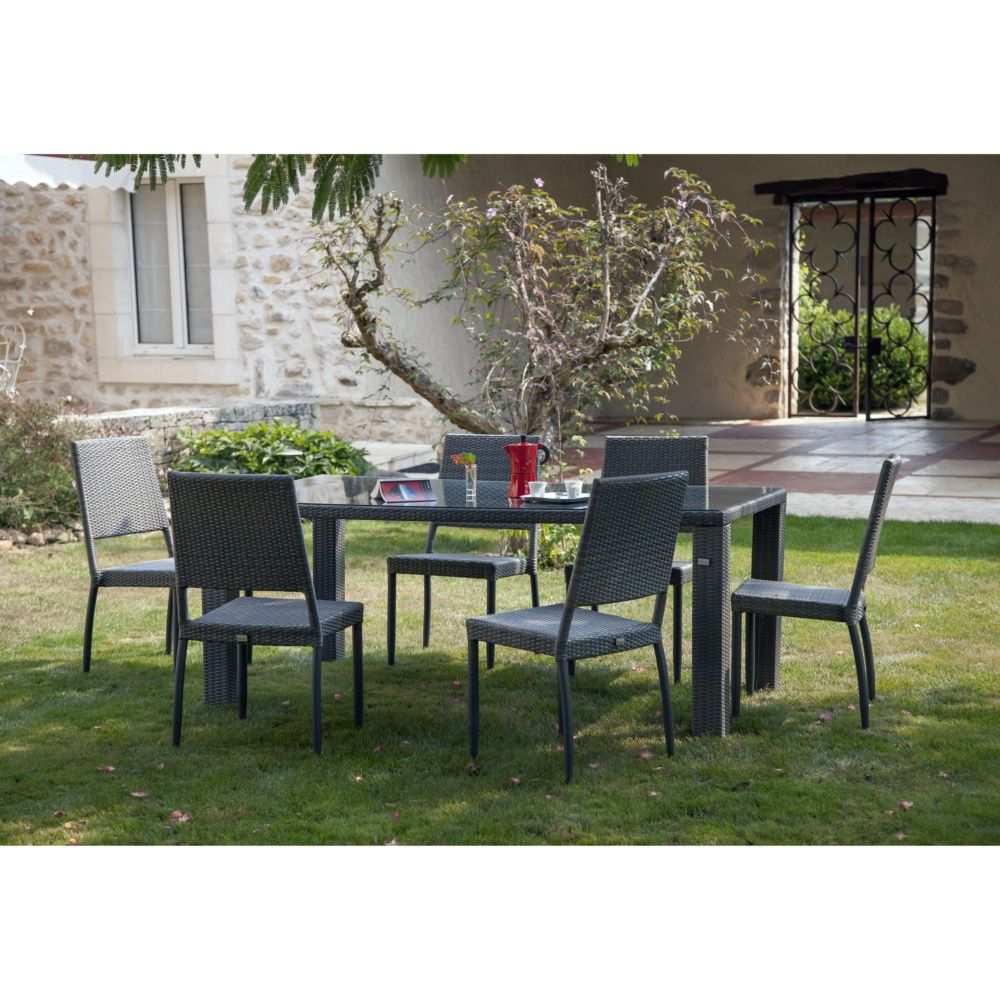 Salon de jardin table faro l180 l100 cm 4 chaises - Salon jardin tresse gris ...