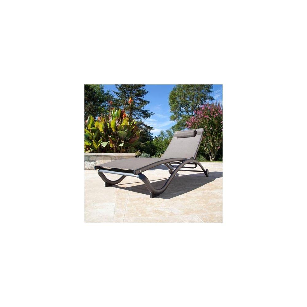 Lot de 2 bains de soleil aluminium textil ne gris plantes et jardins - Bain de soleil aluminium et textilene ...