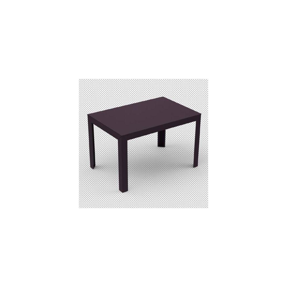 Table zef en acier 120 x 80 x ht 75 cm aubergine - Pied de table telescopique reglable 80 120 cm ...