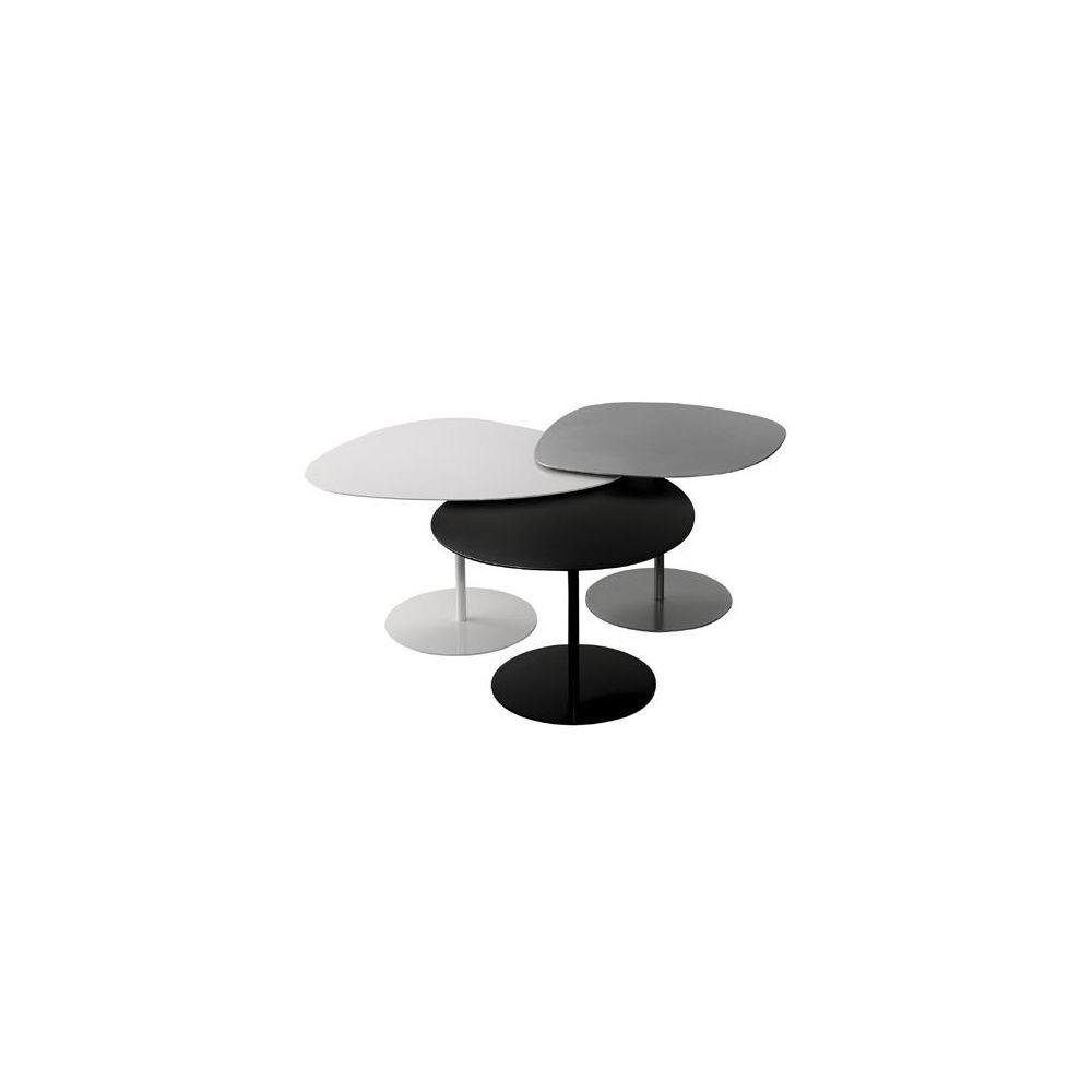 Tables basse gigognes 3 galets gris noir blanc - Table basse galet blanc ...
