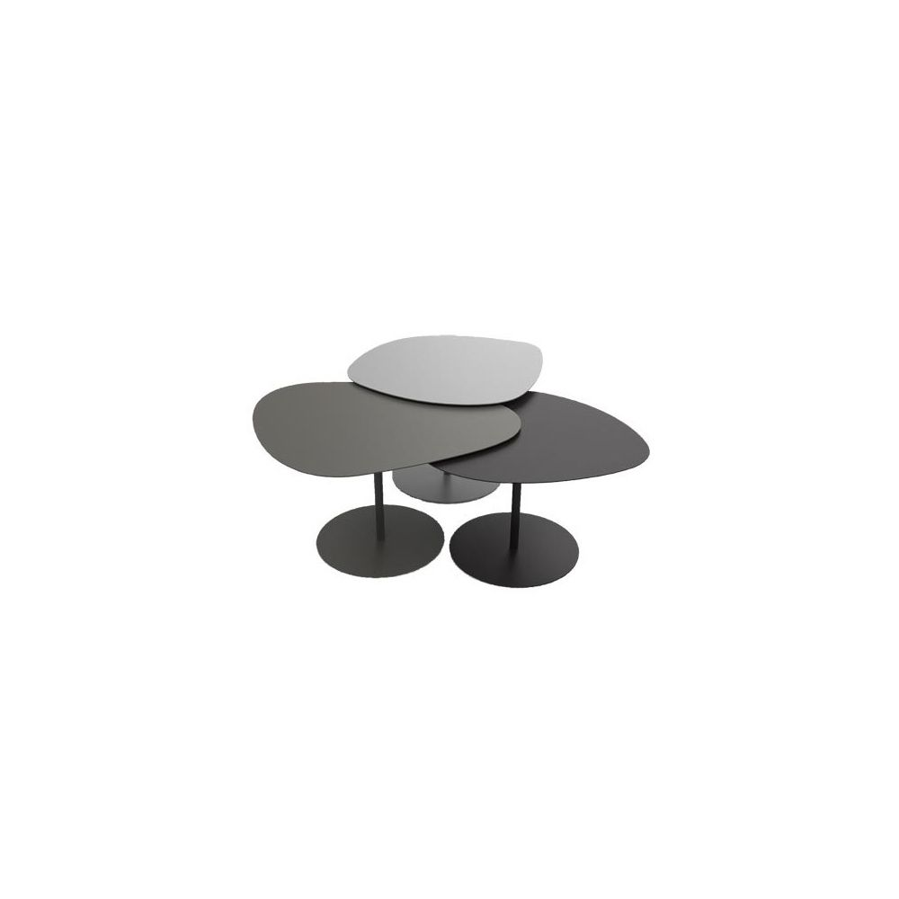 Table basse noir et taupe for 3 tables basses gigognes