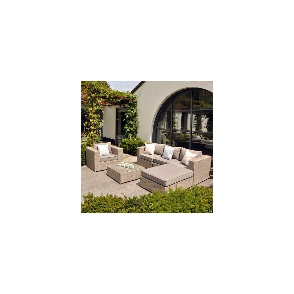 Salon bas modulable puzzle   gris clair / taupe   plantes et jardins