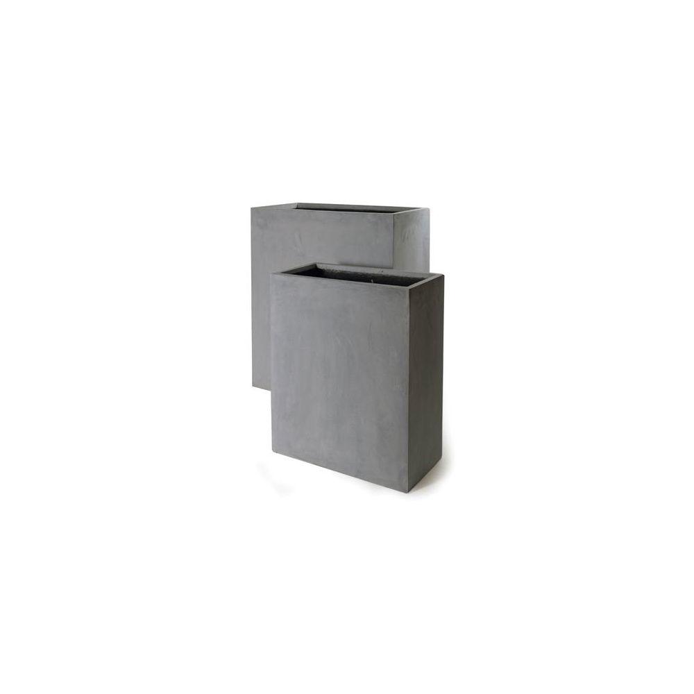 bac rectangulaire haut en polystone ciment fonc l80 h92 plantes et jardins. Black Bedroom Furniture Sets. Home Design Ideas