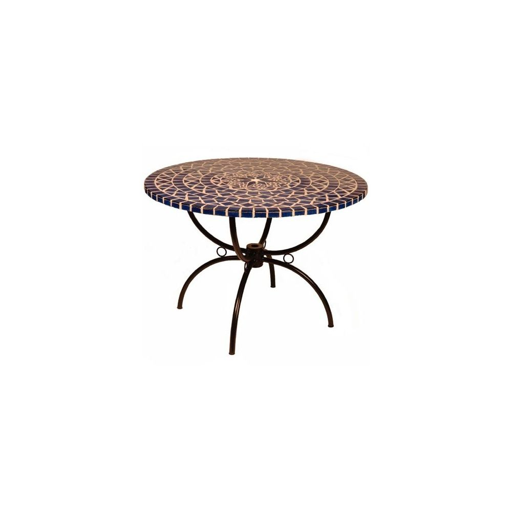 table ronde mosaique bleue 110 cm plantes et jardins. Black Bedroom Furniture Sets. Home Design Ideas
