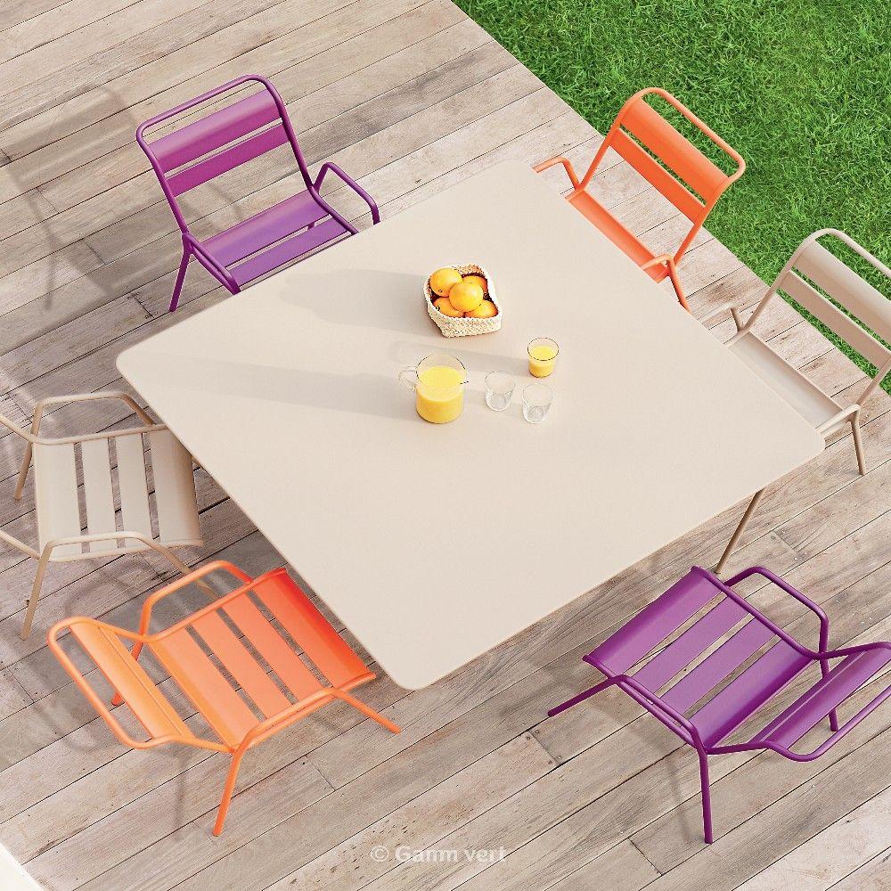 table pliante fermob cargo acier l128 l128 cm muscade plantes et jardins. Black Bedroom Furniture Sets. Home Design Ideas