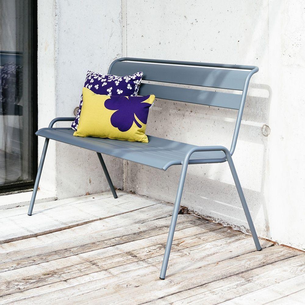 banc fermob monceau acier l116 cm gris orage plantes et. Black Bedroom Furniture Sets. Home Design Ideas
