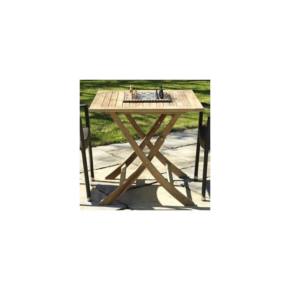 Table carr e pliante en teck 80 x 80 cm plantes et jardins for Table pliante en teck