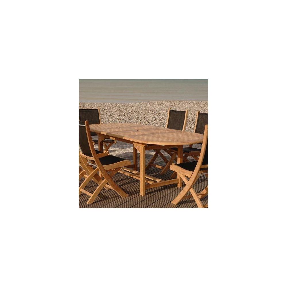 Table ovale en teck double rallonge 160 230 x 100 cm for Table ovale en teck