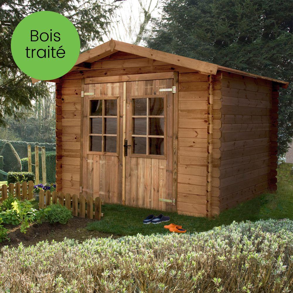 Abri de jardin bois trait m ep 19 mm monda plantes et jardins for Abri de jardin en bois sans entretien