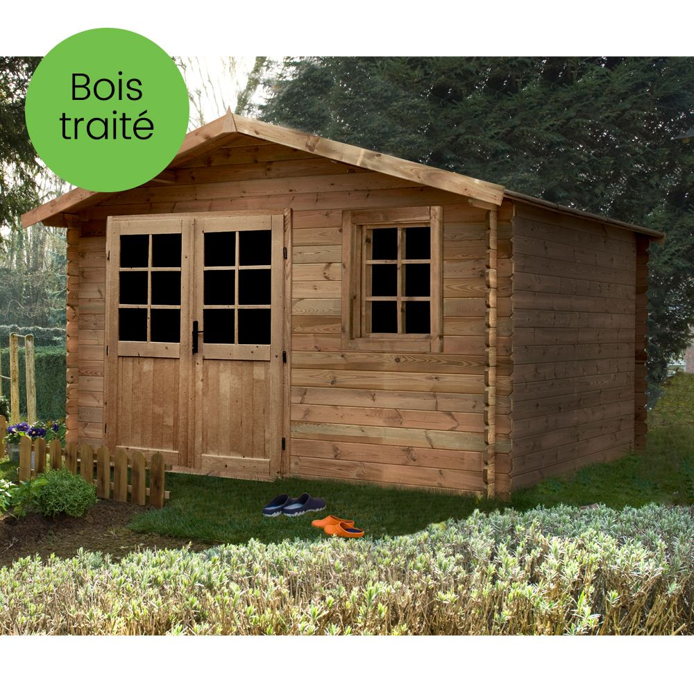 abri de jardin bois trait 12 60 m ep 28 mm aloha. Black Bedroom Furniture Sets. Home Design Ideas