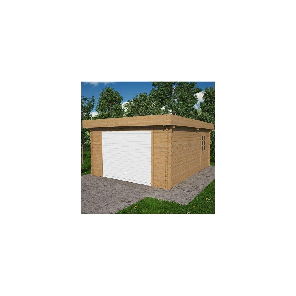 Garage en bois toit plat 410 x 530 cm plantes et jardins - Etancheite garage toit plat ...