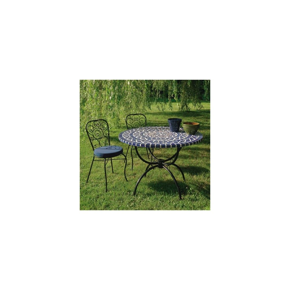 salon table ronde mosaique 110 cm 4 chaises en fer forg avec coussin plantes et jardins. Black Bedroom Furniture Sets. Home Design Ideas