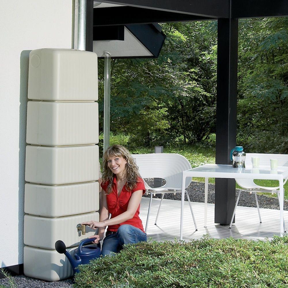 Récupérateur d'eau mural Slim sable 300L