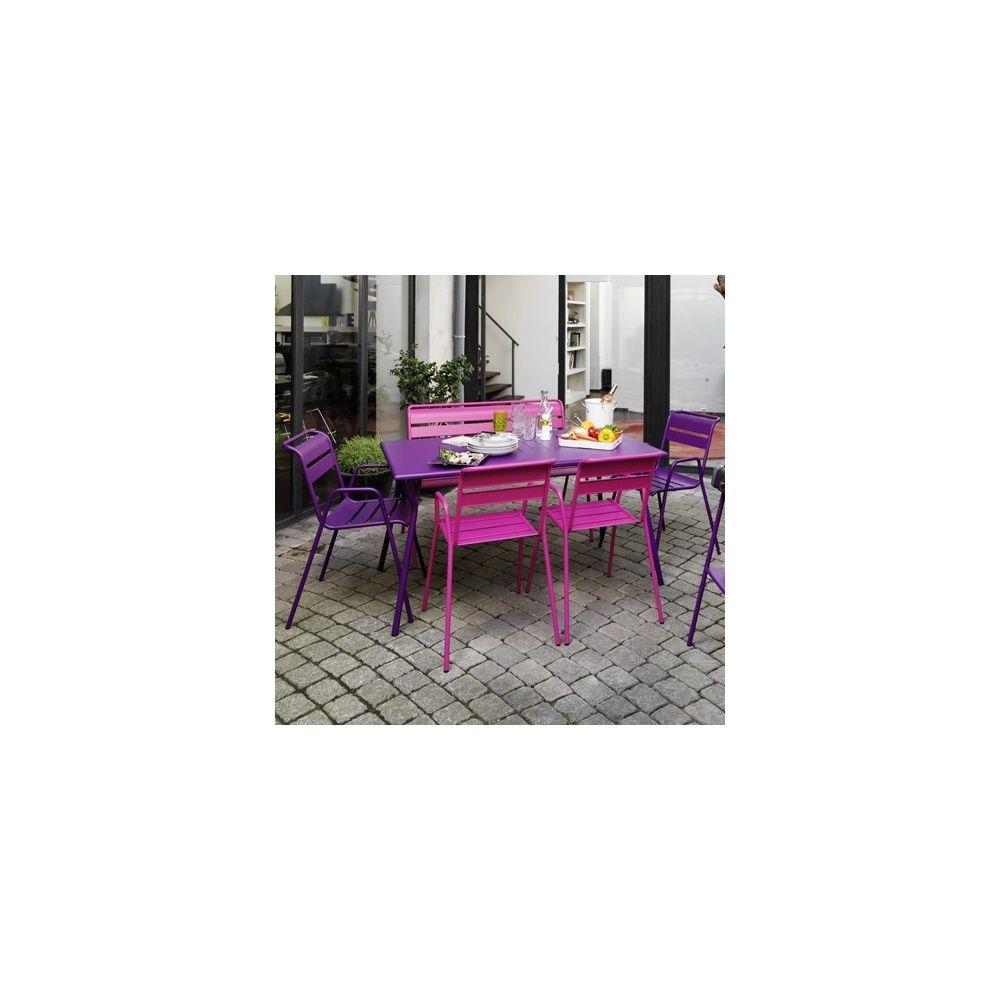 Salon monceau table 146x80 cm aubergine 2 chaises for Banc avec 2 chaises