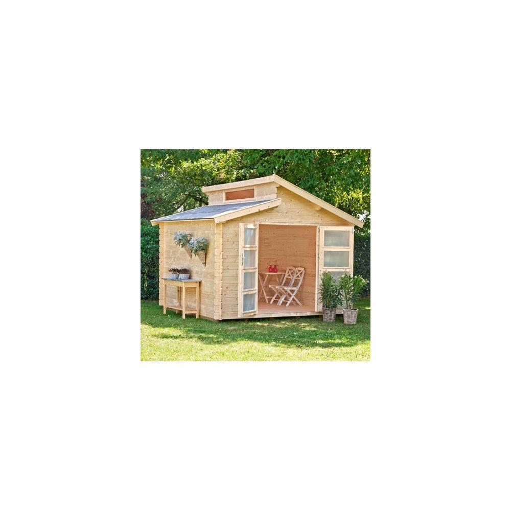 abri de jardin en bois benno 28 mm m hors tout avec plancher plantes et jardins. Black Bedroom Furniture Sets. Home Design Ideas