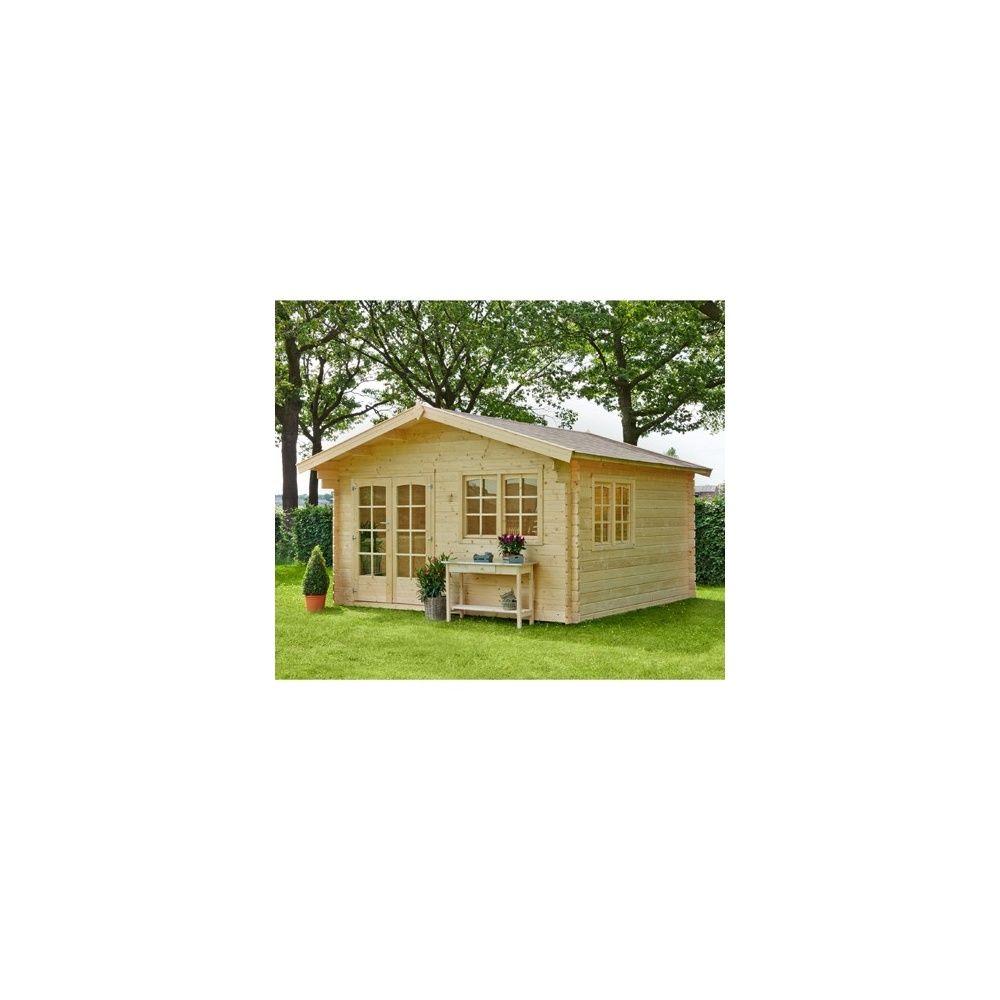 Abri de jardin marius en bois 15 2 m 44 mm avec for Abri de jardin en bois avec plancher