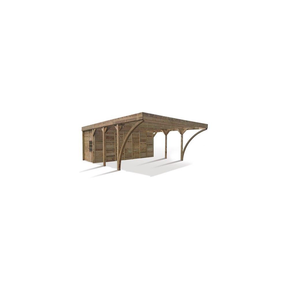 carport 2 voitures avec remise int gr e en bois trait autoclave et color marron plantes et. Black Bedroom Furniture Sets. Home Design Ideas
