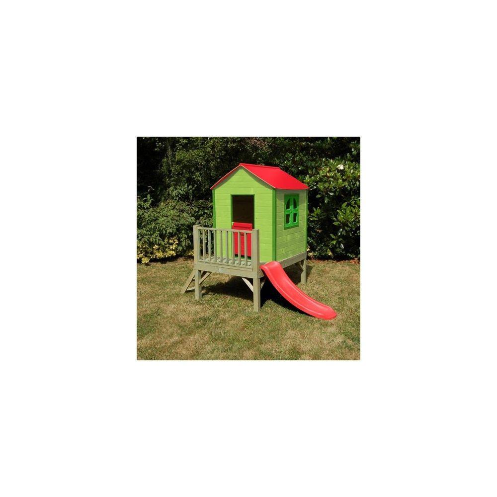 maisonnette bois en panneaux pr assembl s coquelicot avec toboggan plantes et jardins. Black Bedroom Furniture Sets. Home Design Ideas