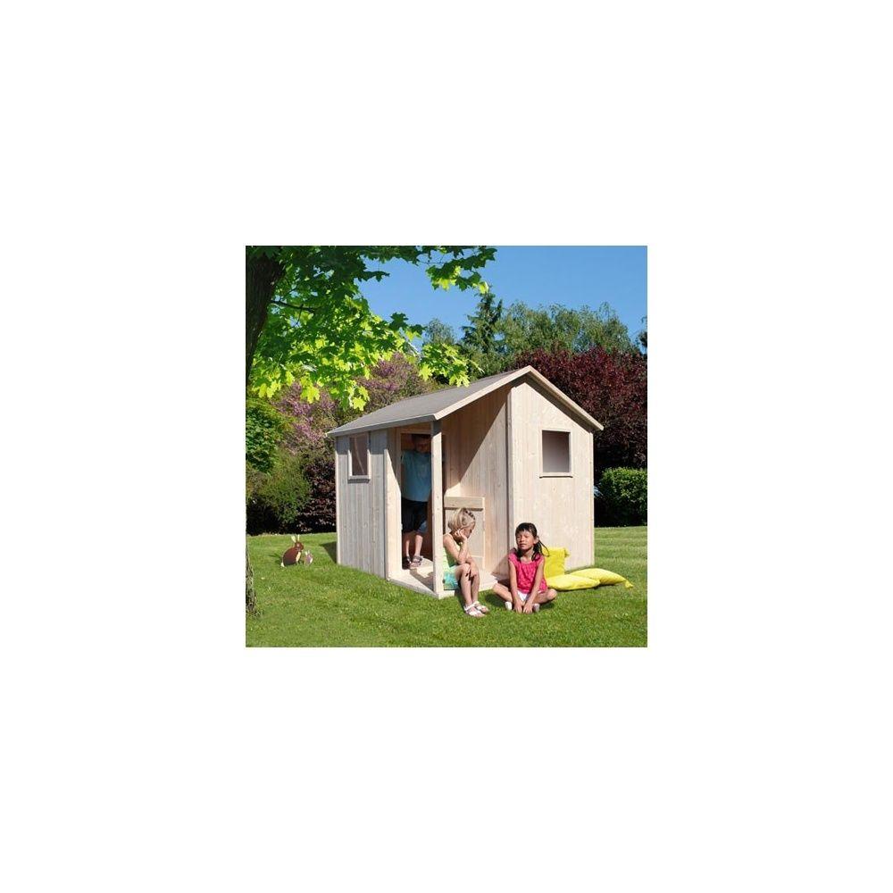 Maisonnette en bois brut lisa a peindre plantes et jardins for Peindre du bois brut