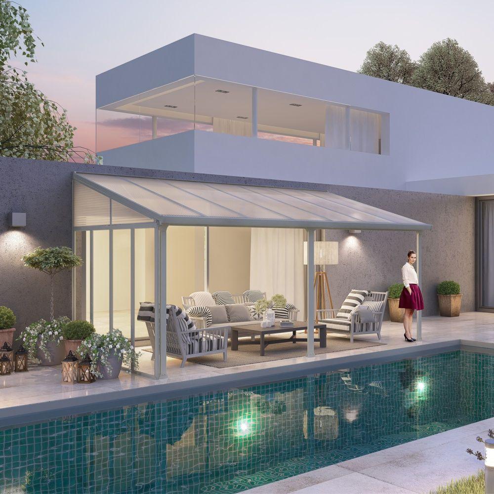 pergola toit terrasse aluminium et polycarbonate 4x3 m blanc plantes et jardins. Black Bedroom Furniture Sets. Home Design Ideas