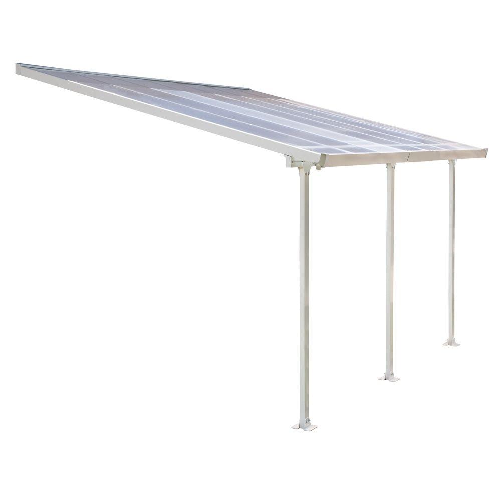 Pergola toit terrasse aluminium et polycarbonate 4x3 m blanc plantes et jar - Pergola aluminium 4x3 ...