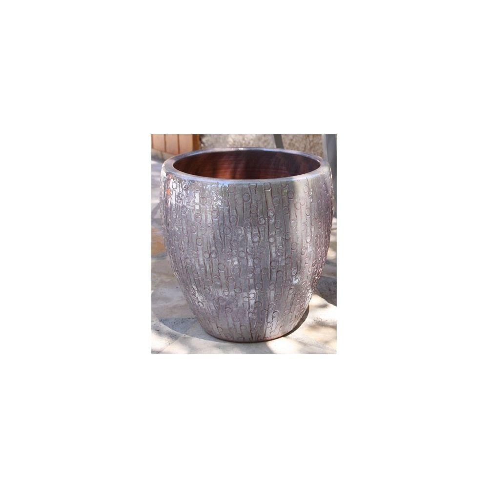 Pot en terre cuite maill e stone perle d30 h19 plantes et jardins - Pot en terre cuite emaillee ...