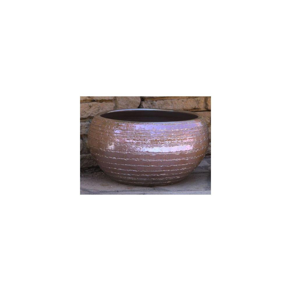 Pot en terre cuite maill e mineral platine d27 h28 plantes et jardins - Pot en terre cuite emaillee ...