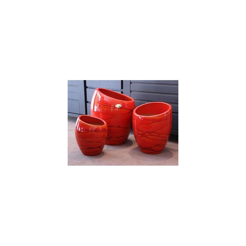 Pot en terre cuite maill e orion soleil couchant d29 h40 plantes et jardins - Pot en terre cuite emaillee ...