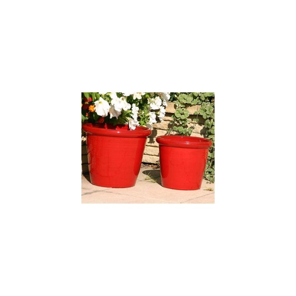 pot en terre cuite maill e vase droit coquelicot d30 h23 plantes et jardins. Black Bedroom Furniture Sets. Home Design Ideas