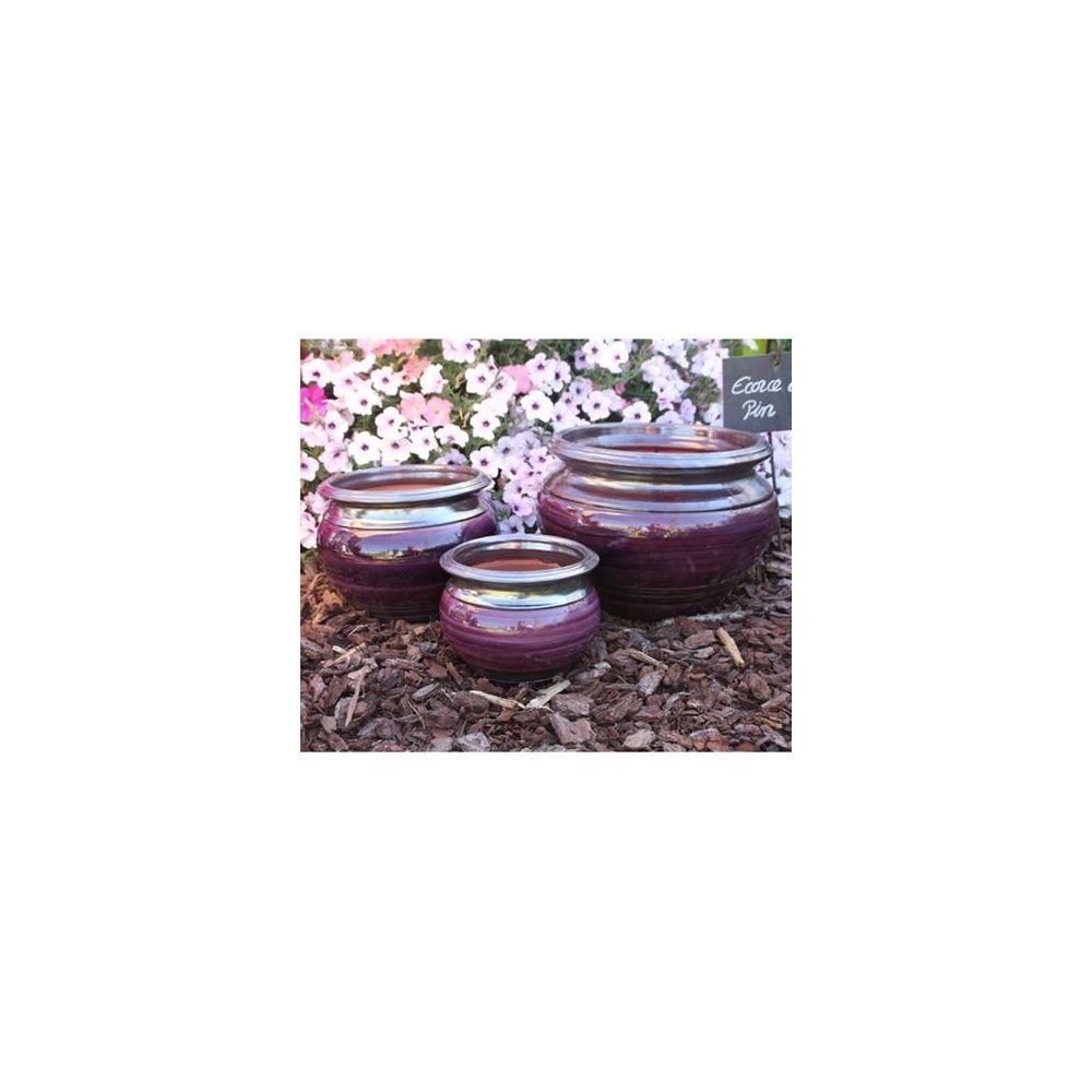 Pot en terre cuite maill e jonc pourpre d31 h25 plantes et jardins - Pot en terre cuite emaillee ...