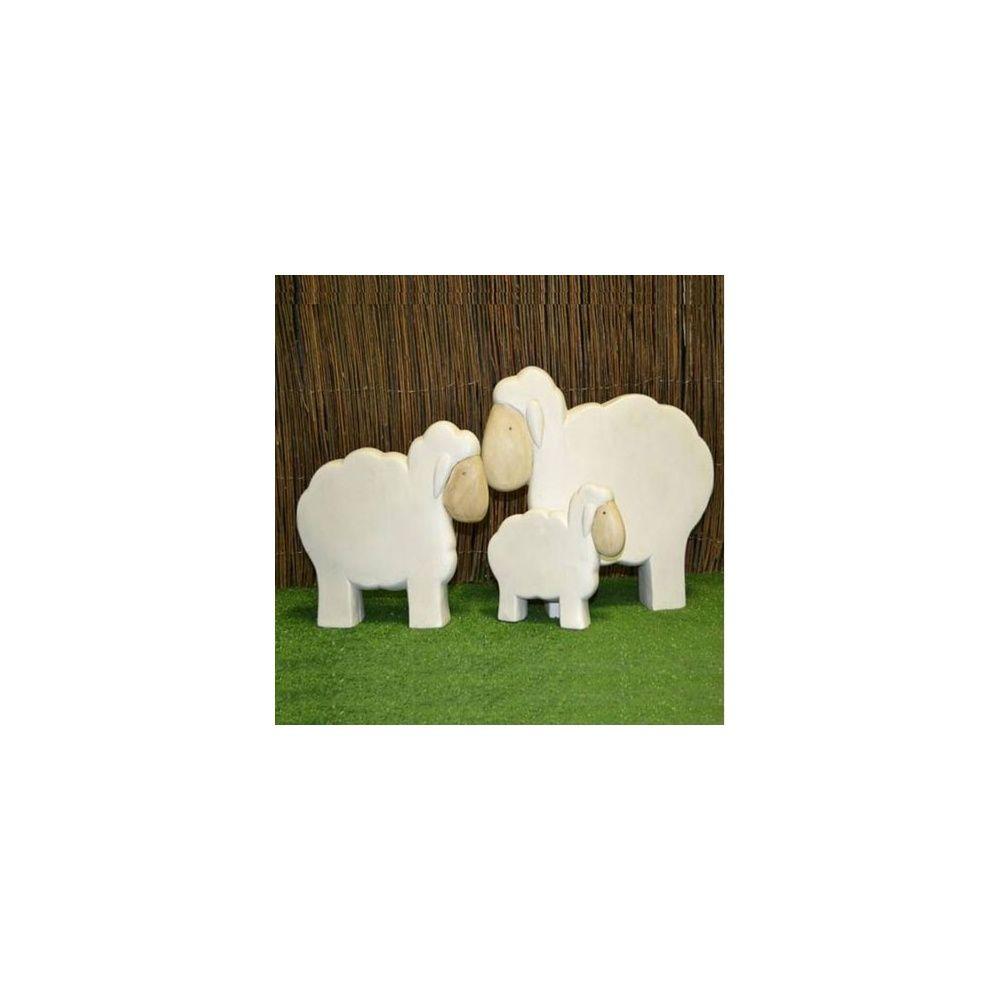 Mouton d coratif en c ramique blanc h 42 cm natura for Gravillon decoratif blanc