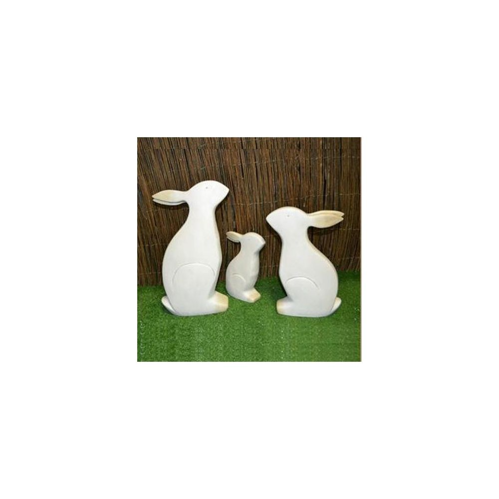Lapin d coratif en c ramique blanc h27 cm natura for Decoration jardin lapin
